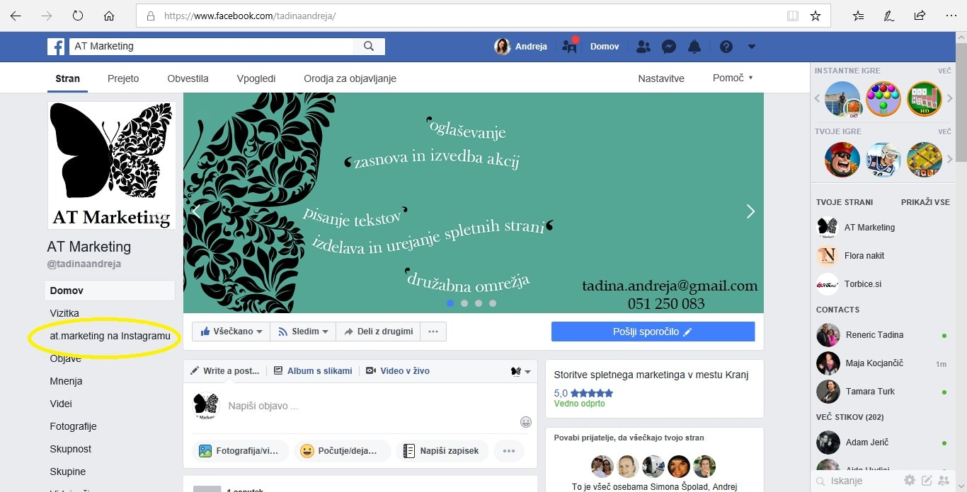 Facebook za podjetja, Instagram 6